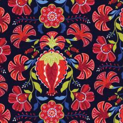 3035-001 Mirage - Pomegranate - Estate Blue Fabric