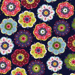 3036-001 Mirage - Fanciful Flower - Estate Blue Fabric
