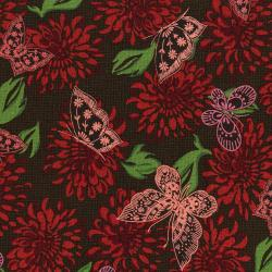 3070-002 Kyoto - Butterflies - Poppy Fabric