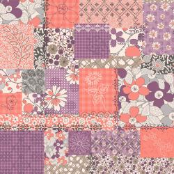 2922-003 Vintage Made Modern - Stitcher's Garden - Collage - Plum Fabric