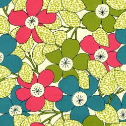 2924-001 Vintage Made Modern - Stitcher's Garden - Petunias - Strawberry Fabric