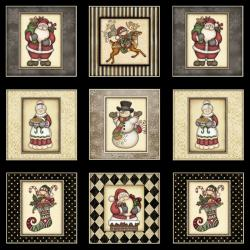 2319-002 Holly Jolly - Christmas Town - Black Fabric
