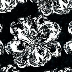2805-001 Blossom Batiks - Black & White - Marble Flower - Starling Batik Fabric