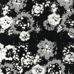 2814-001 Blossom Batiks - Black & White - Ink Floral - Starling Batik Fabric