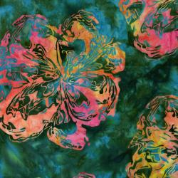 2805-009 Blossom Batiks - Valley - Marble Flower - Hummingbird Batik Fabric