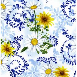 2943-001 Daisy Blue - Delft Blooms - Porcelain Fabric