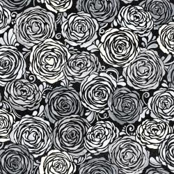 3513-002 Shiny Objects - Precious Metals - Candied Roses - Radiant Platinum Metallic Fabric