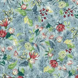 3251-001 Serene Spring - May Flowers - Fog Metallic Fabric