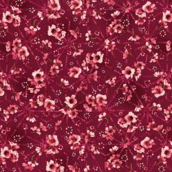3253-003 Serene Spring - Pristine Petals - Cool Cherry Metallic Fabric
