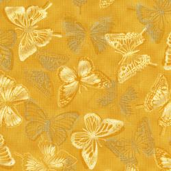 3020-003 Shiny Objects - Butterfly Bourree - Daffodil Metallic Fabric