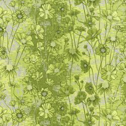 3531-003 Shiny Objects - Sweet Somethings - Love Me Love Me Not - Lime Metallic Fabric
