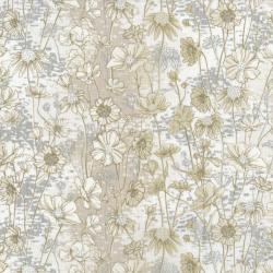 3531-004 Shiny Objects - Sweet Somethings - Love Me Love Me Not - Vanilla Metallic Fabric