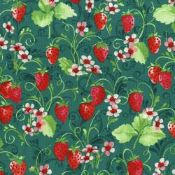 3371-001 Sugar Berry - Strawberry Pie - Radiant Juniper Metallic Fabric