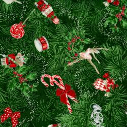 2784-002 Suite Christmas - Claras Tree - Deep Forest Metallic Fabric