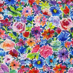 3338-001 The Paper Garden - Color Collage - Rainbow Digiprint Fabric