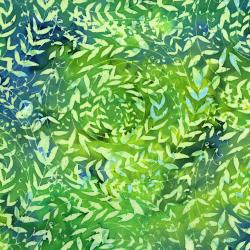 FF301-WI2 Blossom Batiks - Cascade - Leaf Swirl - Willow Fabric