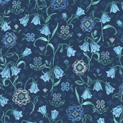 FF200-DE2M Blue Belle - Vintage Linen - Denim Metallic Fabric
