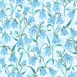 FF202-SE2M Blue Belle - Brilliant Blooms - Sea Glass Metallic Fabric
