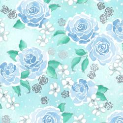 3602-001 Enchanted Lake - Floating Floral - Aqua Metallic Fabric