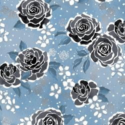 3602-003 Enchanted Lake - Floating Floral - Fog Metallic Fabric