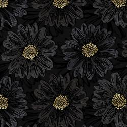 FF500-ON5M Shiny Objects - Good as Gold - Embossed Blooms - Onyx Metallic Fabric