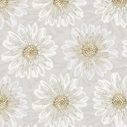 FF500-PE6M Shiny Objects - Good as Gold - Embossed Blooms - Pearl Metallic Fabric
