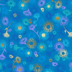 FF501-CE3M Shiny Objects - Good as Gold - English Daisies - Cerulean Metallic Fabric