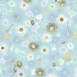 FF501-OP4M Shiny Objects - Good as Gold - English Daisies - Opal Metallic Fabric