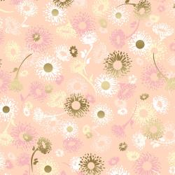 FF501-RO2M Shiny Objects - Good as Gold - English Daisies - Rose Gold Metallic Fabric