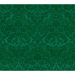 FF403-HO1M Shiny Objects - Holiday Twinkle 2 - Dazzling Damask - Holly Metallic Fabric