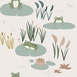 ID101-GR1 Pond Life - Here Little Froggy - Grass Fabric