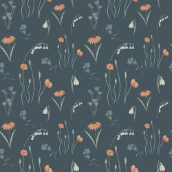 ID102-NA2 Pond Life - Mini Meadow - Navy Fabric