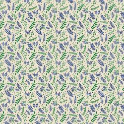 JM110-BI6 Branching Out - Blue on Ivory Fabric