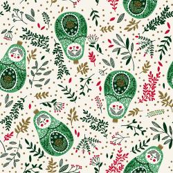 JM102-HO3M Winter Dreams - Babushka Dolls - Holly Metallic Fabric