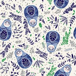 JM102-RB1M Winter Dreams - Babushka Dolls - Royal Blue Metallic Fabric