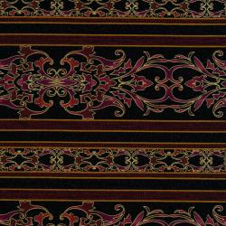 2256-003 Border Basics - Carnival Border - Black/Burgundy Fabric