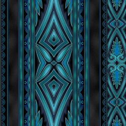 5369-012 Border Basics - Kalimantan - Turquoise Fabric