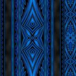 5369-013 Border Basics - Kalimantan - Blue Fabric