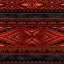 5396-011 Border Basics - Kalimantan - Red Fabric