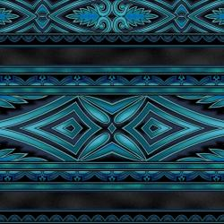 5396-012 Border Basics - Kalimantan - Teal Fabric