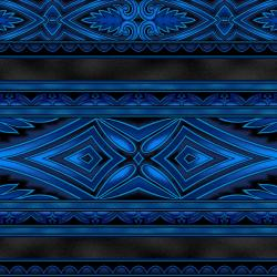 5396-013 Border Basics - Kalimantan - Blue Fabric