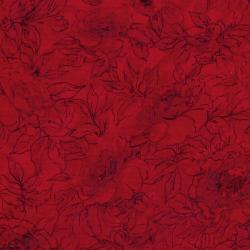 7132-023 Jinny Beyer Palette - Floral Outline - Scarlet Fabric
