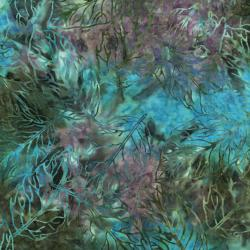 2145-008 Malam Batiks II - Pressed Leaf - Teal/Mauve Fabric