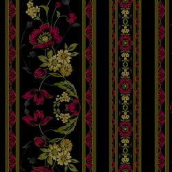 3415-004 Midnight Garden - Border - Red Fabric