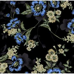 3416-001 Midnight Garden - Large Floral - Blue Fabric