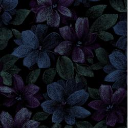 3420-002 Midnight Garden - Packed Floral - Blue Fabric