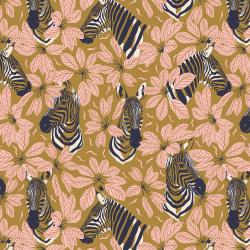 JD102-GU1 Magic of Serengeti - Happy Zebra - Glowing Umber Fabric