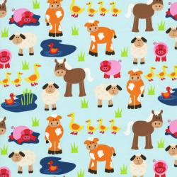 2418-001 Apple Hill Farm - Animals - Teal Fabric