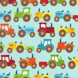 2419-002 Apple Hill Farm - Tractors - Teal Fabric