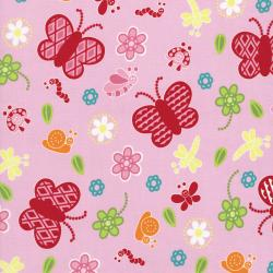 2628-001 Bugsy - Butterflies - Blush Fabric